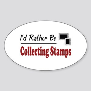 Rather Be Collecting Stamps Oval Sticker