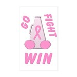 Pink GO FIGHT WIN Rectangle Sticker 50 pk)