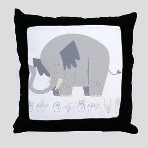 ASL Elephant Throw Pillow