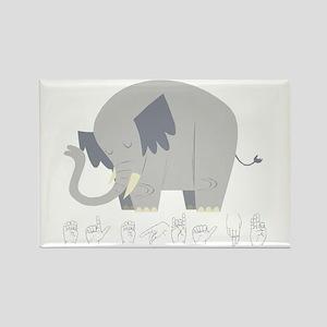 ASL Elephant Rectangle Magnet