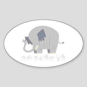 ASL Elephant Oval Sticker