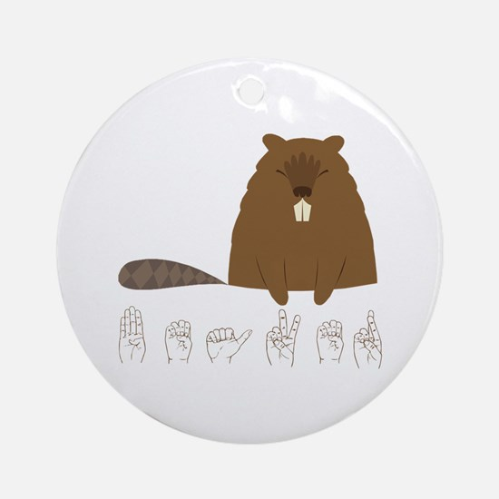 ASL Beaver Ornament (Round)