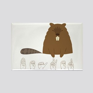 ASL Beaver Rectangle Magnet