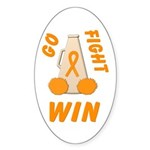 Orange GO..WIN Oval Sticker (10 pk)