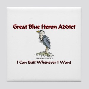 Great Blue Heron Addict Tile Coaster