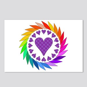 Rainbow Love Hearts Postcards (Package of 8)