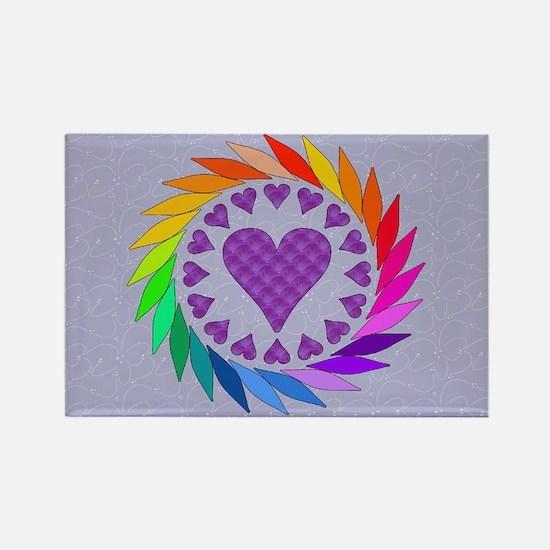 Rainbow Love Hearts Rectangle Magnet