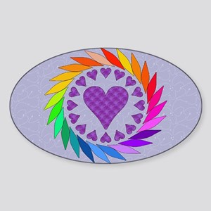 Rainbow Love Hearts Oval Sticker