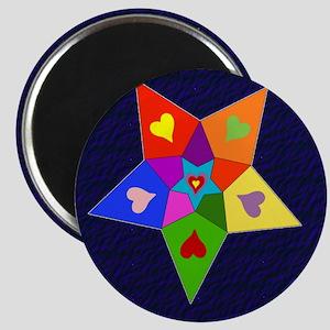 Rainbow Hearts Star Magnet