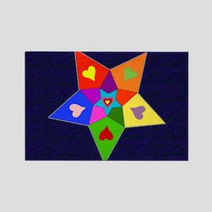 Rainbow Hearts Star Rectangle Magnet