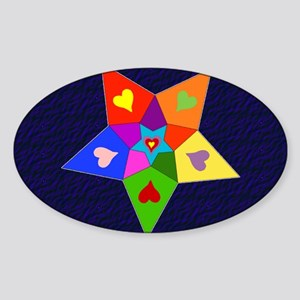 Rainbow Hearts Star Oval Sticker