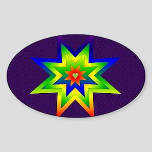 Rainbow Star Oval Sticker
