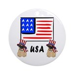 Patriotic USA Pug Dogs Ornament (Round)
