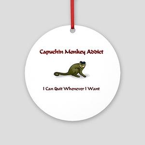 Capuchin Monkey Addict Ornament (Round)