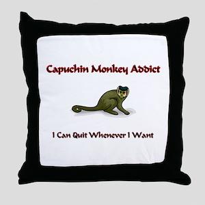 Capuchin Monkey Addict Throw Pillow