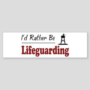 Rather Be Lifeguarding Bumper Sticker