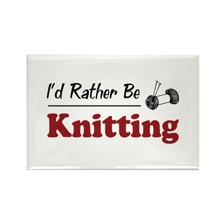 Rather Be Knitting Rectangle Magnet (100 pack)