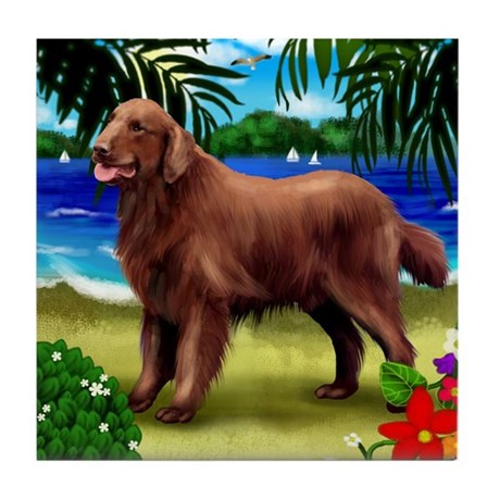 FLAT COATED RETRIEVER liver Tile Coaster