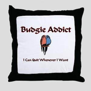 Budgie Addict Throw Pillow