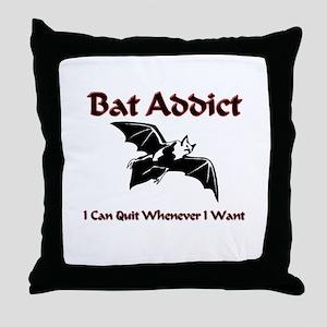 Bat Addict Throw Pillow