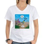 SCUBA Diver and Moray Eel Women's V-Neck T-Shirt