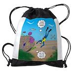 SCUBA Diver and Moray Eel Drawstring Bag