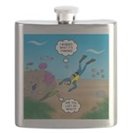 SCUBA Diver and Moray Eel Flask