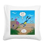 SCUBA Diver and Moray Eel Square Canvas Pillow