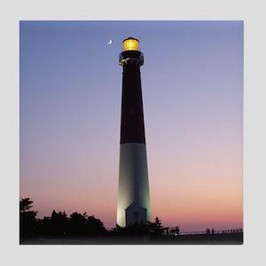 TILE COASTER of Barnegat Light at Sunset w/ moon