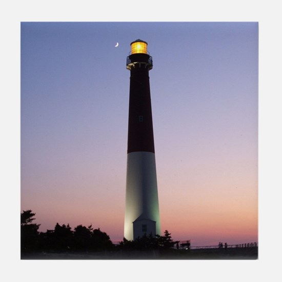 TILE COASTER of Barnegat Light at Sunset w/ moon