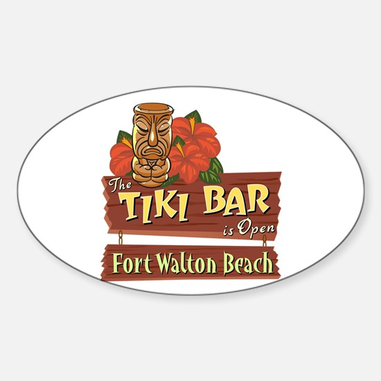 Ft. Walton Beach Tiki Bar - Oval Decal