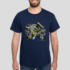 3020B Purple Yellow Pansies Dark T-Shirt (Front)