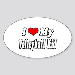 """I Love My Volleyball Kid"" Oval Sticker"