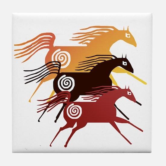 Three Ancient Horses Tile Coaster