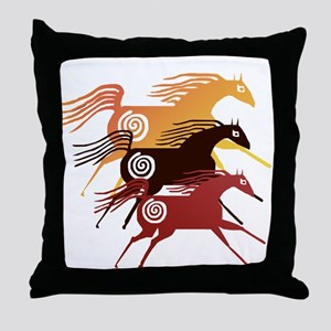 Three Ancient Horses Throw Pillow
