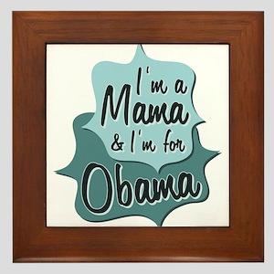 Blue Mama For Obama Tile (Framed)