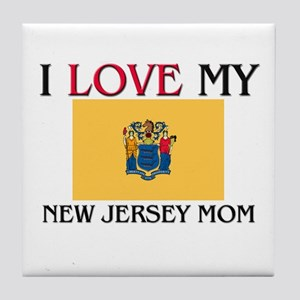 I Love My New Jersey Mom Tile Coaster