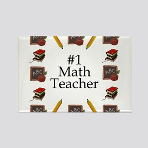 #1 Math Teacher Rectangle Magnet