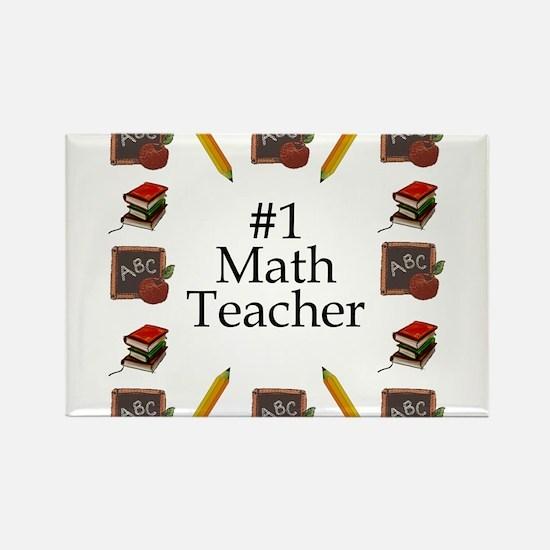 #1 Math Teacher Rectangle Magnet