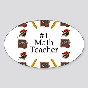 #1 Math Teacher Oval Sticker
