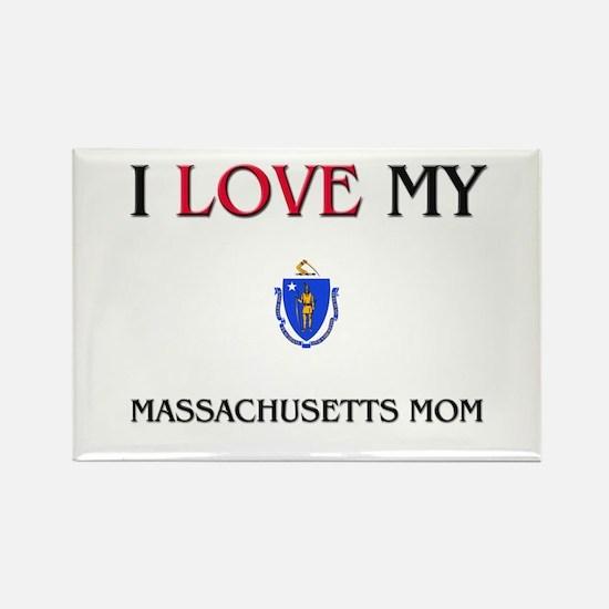I Love My Massachusetts Mom Rectangle Magnet