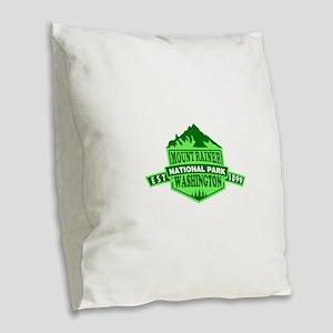 Mount Rainier - Washington Burlap Throw Pillow