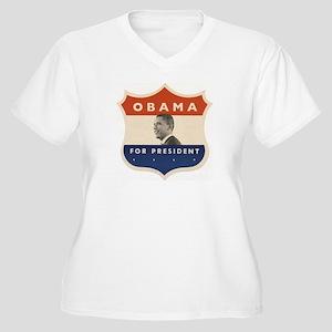 Obama JFK '60-Style Shield Women's Plus Size V-Nec
