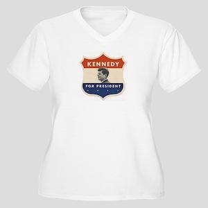 JFK '60 Shield Women's Plus Size V-Neck T-Shirt