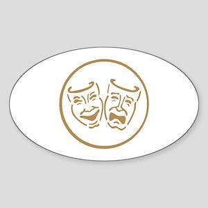 Drama Masks Oval Sticker
