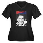 Obama RFK '68-Style Women's Plus Size V-Neck Dark