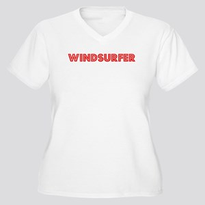 Retro Windsurfer (Red) Women's Plus Size V-Neck T-