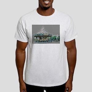 Eiffel Tower Carousel Merry Go Round Ash Grey T-Sh