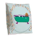 Puppy In The Tub Burlap Throw Pillow