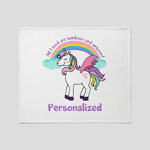 Rainbow Unicorn (p) Throw Blanket